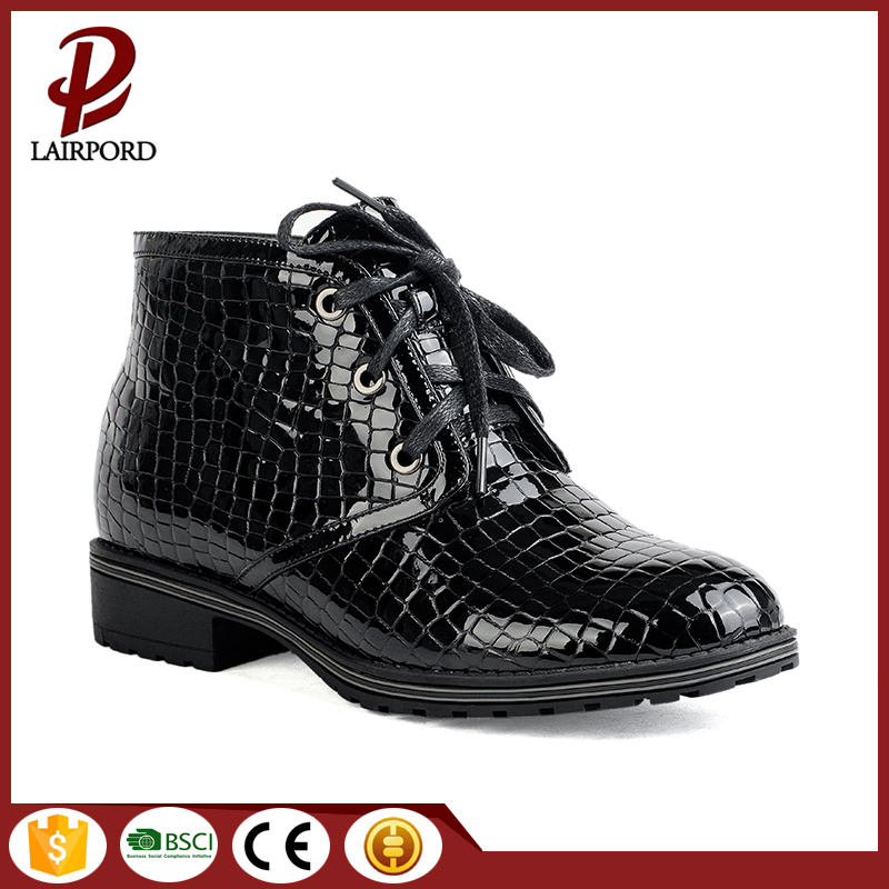 black real leather shoelace ankle flat boots