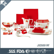 NEW! 69pcs fine porcelain square dinner set with flower decal, solid color dinner set