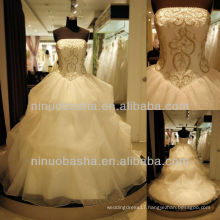 Q-6248 Satin with Tulle Wedding Dress Prom Gown Embroidery Bridal Dress