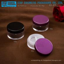 HJ-PT serie 5g 10g 20g una sola capa gruesa pared todo plástico redondo frasco polvo suelto con rotación de tamiz
