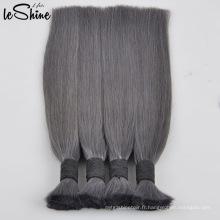 Vierge / cheveux indiens en vrac naturels non-traités de tressage de cheveux humains de Remy