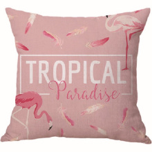 Бархатная наволочка с розовыми фламинго на заказ