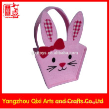 Rabbit shape animal embroidery handbag handmade felt bag