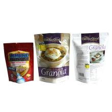 Bolsa de alimentos para meriendas inferior plana con bolsa de alimentos con cremallera / refrigerio