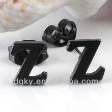 Black Cool Stainless Steel Letter Z Alphabet Ear Stud Earring
