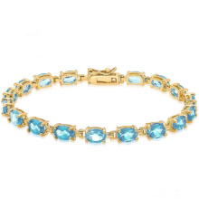 14k Gold über Sterling Silber Edelstein Tennis Stil Armband mit blauen Topas