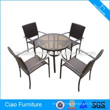 Rattan ao ar livre inteligente / móveis de vime best seller jardim mesa de jantar e cadeira