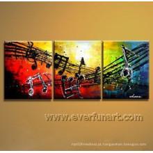 Arte abstrata da lona Pinturas abstratas da música para a decoração Home (Xd3-202)