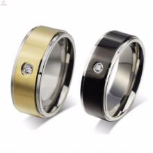 Pas cher en acier inoxydable One Crystal Stone Gold Rings bijoux