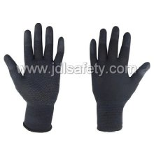 Black Work Glove with PU Finger Top and PVC Mini Dots (PN8018)