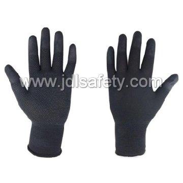 Перчатка черная работа с Пу палец сверху и ПВХ мини точки (PN8018)