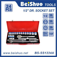 24 PCS 1 / 2''dr. Conjunto de soquete de chave de catraca com caixa de ferro