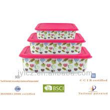 Almacenamiento de comida cuadrado de cerámica popular 2013 con la tapa del silicón, sistema de 3