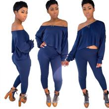 C4032  Fashion slopping shoulder longsleeve 2 piece pant set  women fall clothing 2019 hot sale