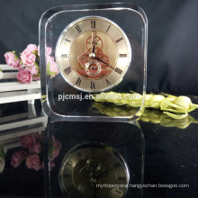 Clear personalized crystal clock for home and office decoration