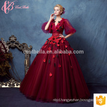 High-end Dark Red Kayting Ladies Chiffon Two Piece Party Wear Long Evening Dresses
