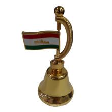 Lembrança, prêmio, presente, dourado, metal, jantar, sino, bandeira, (f8026)