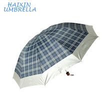 OEM poliéster con astilla revestimiento 3 paraguas plegable