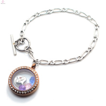 Wholesale stainless steel magnetic chunky silver toggle clasp chocolate locket bracelet jewelry
