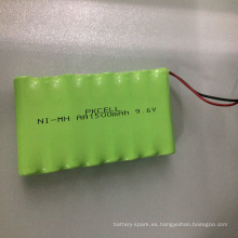 Paquete de batería recargable Ni-MH 9.6V AA1500mAh