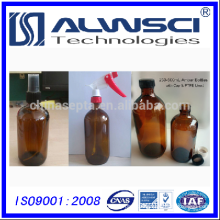 240-300ml Small Opening Amber Glass Packer moulded Bottles with closure