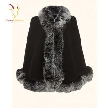 High Quality Cashmere Shawl Scarf with Real Fox Fur Trim Custom Cashmere Shawl