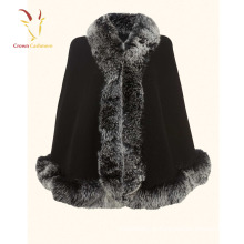 Cachecol De Caxemira de alta Qualidade com Real Fox Fur Guarnição Personalizado Cashmere Xaile