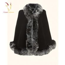 Высокое качество Кашемировые шали шарф с реальными Лиса меховой отделкой на заказ кашемир шаль