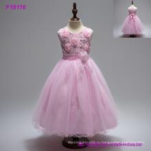 Цветок девочки платья для свадеб бальное платье из бисера блестками развертки поезд дешевые розовые девушки причастие платье