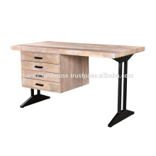 Natural solid wood with metal base 4 drawers office desk