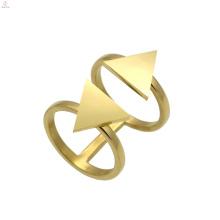Bague en forme de triangle triangulaire à double or ouvert