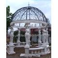 Stein Marmor Garten Gazebo mit Gusseisen Top (GR034)