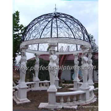 Gazebo de mármol de piedra del jardín con la tapa del hierro fundido (GR034)