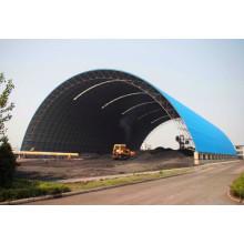 Estrutura do quadro da grade espacial para o galpão de armazenamento de carvão com telhado do arco