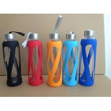 Borosilicate Glass Bottle with Silicone Outer and PP Lid