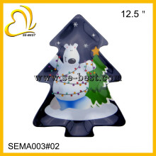 nouveau design 12.5 pouces forme d'arbre de Noël pas cher mélamine plaque