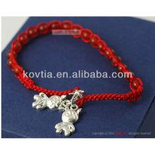 Großhandel Silber Anhänger Schmuck rot wulst geflochten Seil Armband
