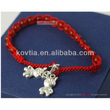 Wholesale silver pendant jewelry red beaded braided rope bracelet
