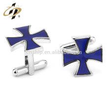 Profissionais de metal azul christ cruz personalizado homens esmalte abotoaduras