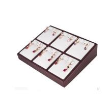 Modische weiße PU 6 Paare geteilte Ohrring-Kasten-Schmucksache-Behälter (ES-6TYW)