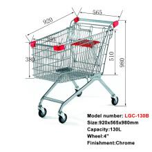 安いヨーロッパのクロムメタルショッピングカートトロリー