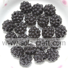 Schwarze Farbe Berry Shape Acryl Electric Plating Perlen 10MM