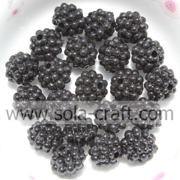 Black Color Berry Shape Acrylic Electric Plating Beads 10MM