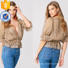 Apricot Ruffled Deep V-Neck Three Quarter Length Sleeve Summer Blouse Manufacture Wholesale Fashion Women Apparel (TA0033B)