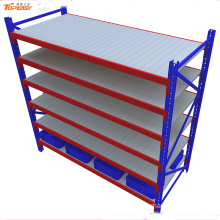 Powder coated medium duty steel boltless shelves for storage bins