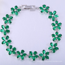 Cadeau de Noël de bracelets en laiton de fleur de pierre verte zircone cubique