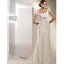 Empire Cathedral Train Chiffon Lace Ribbons Wedding Dress