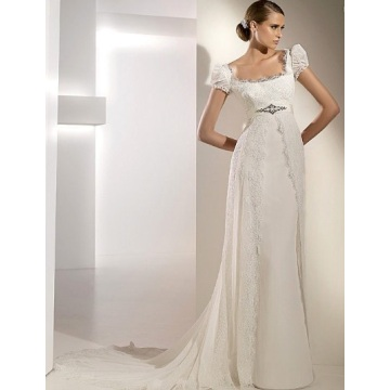 Empire Cathedral Train Chiffon Lace Ribbon Wedding Dress