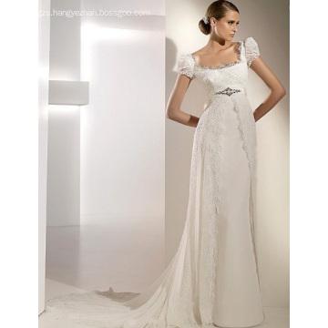 Empire Cathedral Train Chiffon Lace Ribbons Wedding Dress1