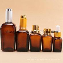 Cuadrado botellas de vidrio de aceite esencial botellas gotero